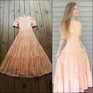 Vintage 70's L peach open lace prairie dress